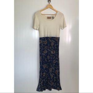 Vintage 90s Grunge A-Line Dress Floral Womens 8